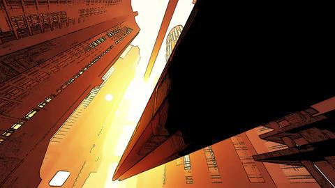 4 K Future City Traffic Comic Marvel 1 Stock Video Footage