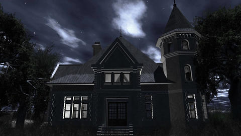 4 K Haunted Scary House 4 Stock Video Footage