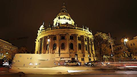 Basilica Budapest Hungary at Night Comic Marvel 1 Footage