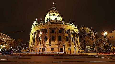 Basilica Budapest Hungary at Night Comic Marvel 1 Stock Video Footage