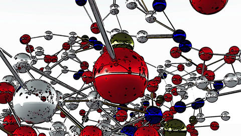Complex Molecule Structure Comic Marvel 3 Stock Video Footage