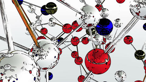 Complex Molecule Structure Comic Marvel 5 Stock Video Footage