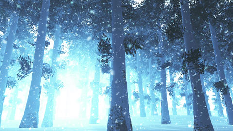 Deep Winter Forest 3 snowing Animation