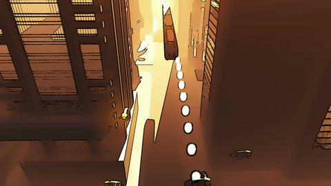 Future City Traffic Comic Marvel 2 Stock Video Footage