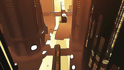 Future City Traffic Comic Marvel 2 Stock Video Footage