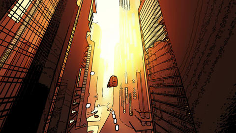 Future City Traffic Comic Marvel 4 Stock Video Footage