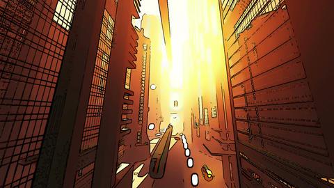 Future City Traffic Comic Marvel 4 Stock Video Footage