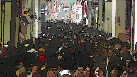 Japan Osaka Crowd Comic Marvel 2 Stock Video Footage