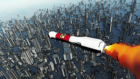 Nuclear Rocket Hits Metropolis Comic Marvel 1 Stock Video Footage