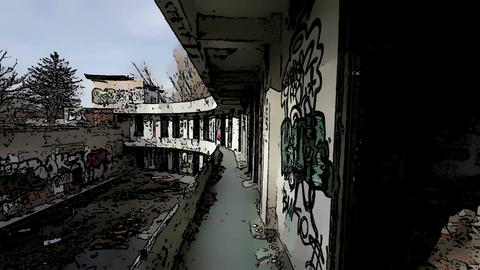 Scary Abandoned Building Domic Marvel 6 Stock Video Footage