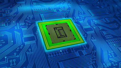 Microprocessor with moving energy Stock Video Footage