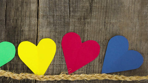 Colorful Hearts Stock Video Footage