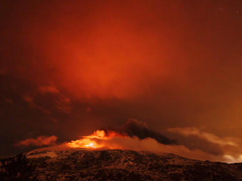 Etna Eruption at night. Sicily, Italy. Time Laps Stock Video Footage