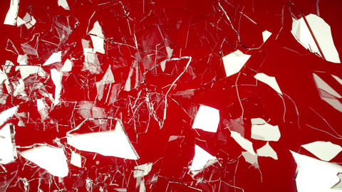 Cracked and Shattered glass on red with slow motio Animation