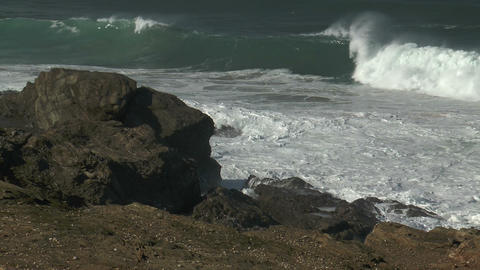 big surf at atlantic coast in portugal Stock Video Footage