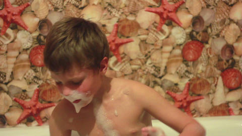Boy Playing with Foam 2 Stock Video Footage