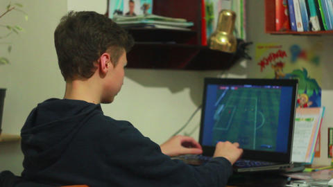 Boy Play in Laptop 1 Stock Video Footage