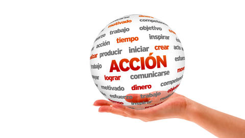 Action word sphere (In Spanish) Stock Video Footage