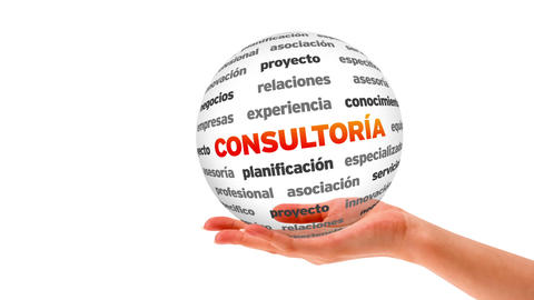 Consulting word sphere (In Spanish) Stock Video Footage