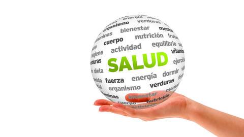 Health Word Sphere (In Spanish) Stock Video Footage