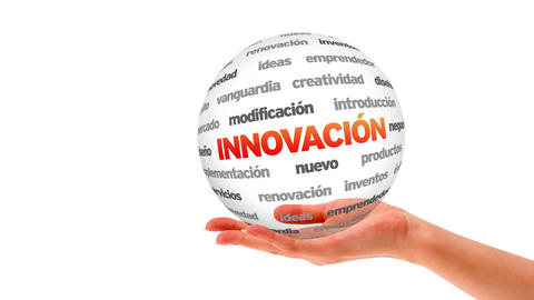 Innovation word sphere (In Spanish) Stock Video Footage