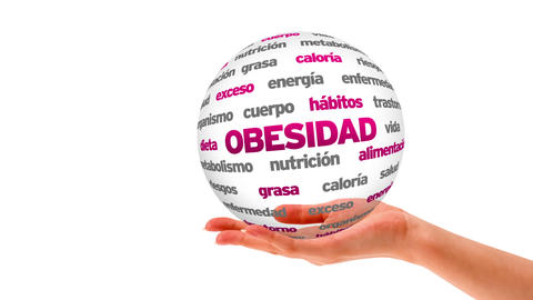 Obesity word sphere (In Spanish) Stock Video Footage