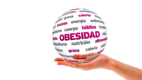 Obesity word sphere (In Spanish) Stock Video Footage