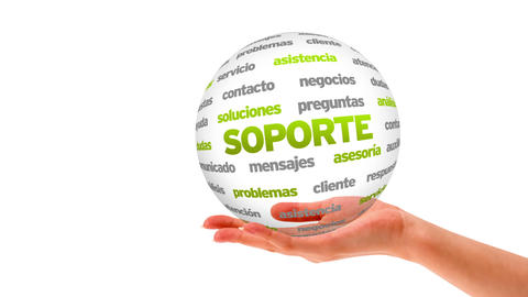Support word sphere (In Spanish) Stock Video Footage