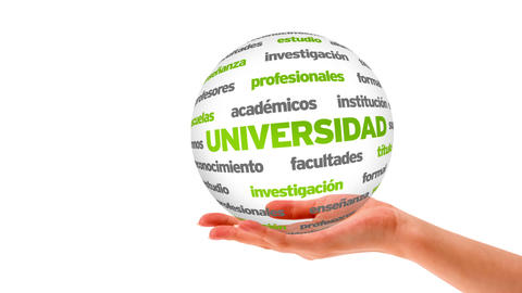 University word sphere (In Spanish) Stock Video Footage