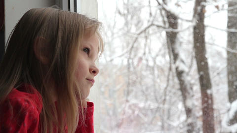 Snow outside the Window HD Stock Video Footage