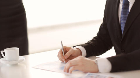 man signing a contract Stock Video Footage