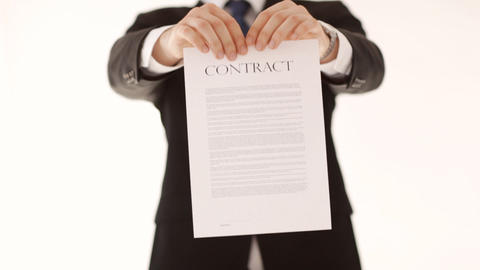 Man Breaking A Contract stock footage