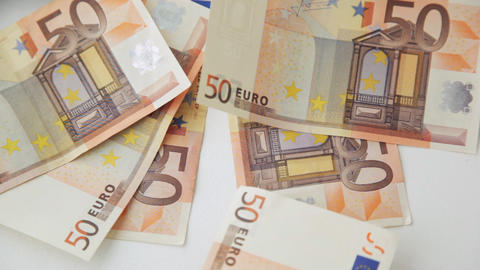 falling 50 euro money notes Footage