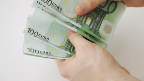 hands counting 100 euro money notes Stock Video Footage