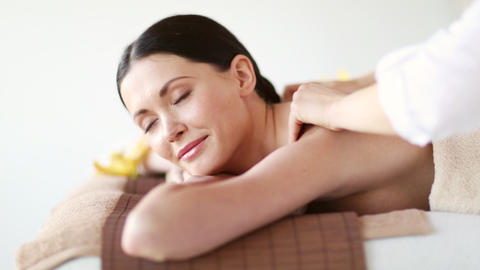 happy woman relaxing in spa salon Stock Video Footage
