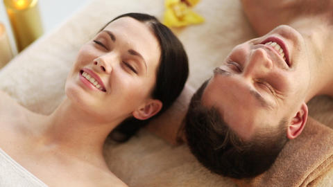 happy couple relaxing in spa salon Stock Video Footage