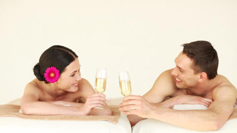happy couple relaxing in spa salon Footage