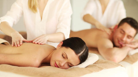 Happy Couple Relaxing In Spa Salon stock footage