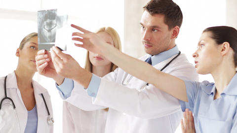 group of doctors with x-ray prints Stock Video Footage