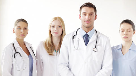 group of smiling doctors Stock Video Footage