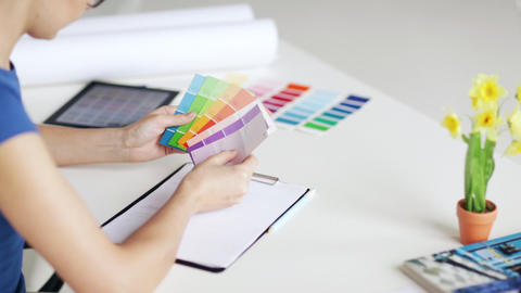 woman with color samples for selection Stock Video Footage