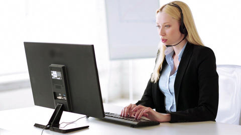 attractive helpline operator in office Stock Video Footage