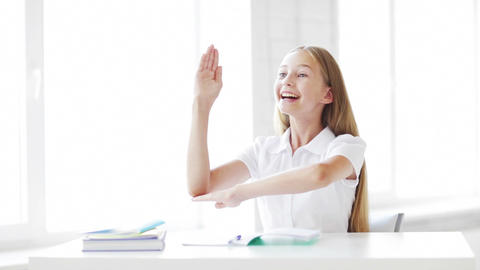 happy student girl raising hand Stock Video Footage