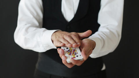man showing trick with playing cards Stock Video Footage