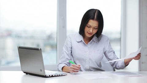 woman with documents and pen filling form Stock Video Footage