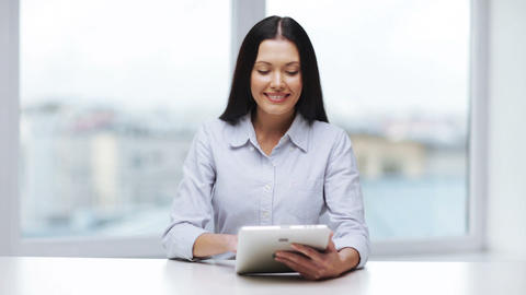 businesswoman or student with tablet pc Stock Video Footage