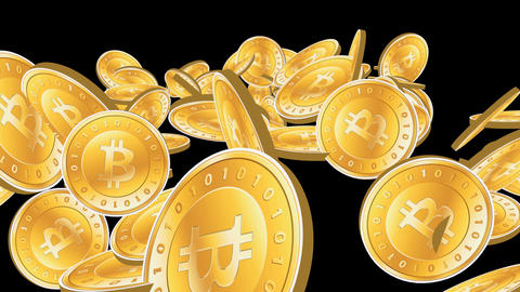 Many Gold bitcoin coins flying in air,Virtual Currency Stock Video Footage