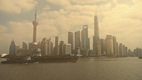 pollution of Shanghai,serious haze,Lujiazui Financial Center Stock Video Footage