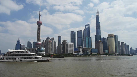 Shanghai China Asia,Lujiazui Financial Center,busy Huangpu River shipping Animation