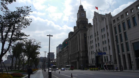 Shanghai bund traffic,old business building Animation